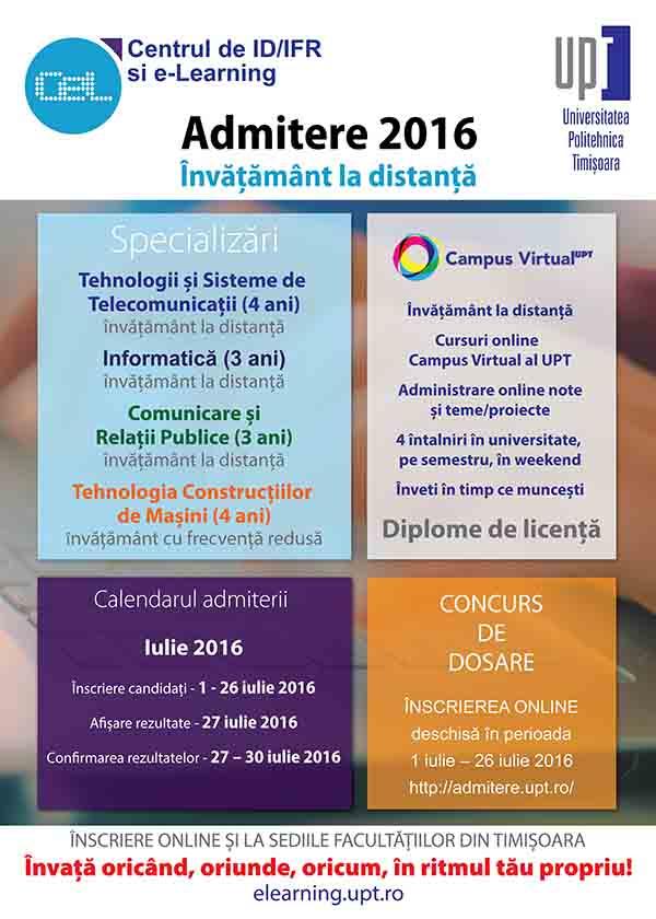Admitere 2016  pentru cursurile de învățământ la distanță și cu frecvență redusă la Universitatea Politehnica Timișoara